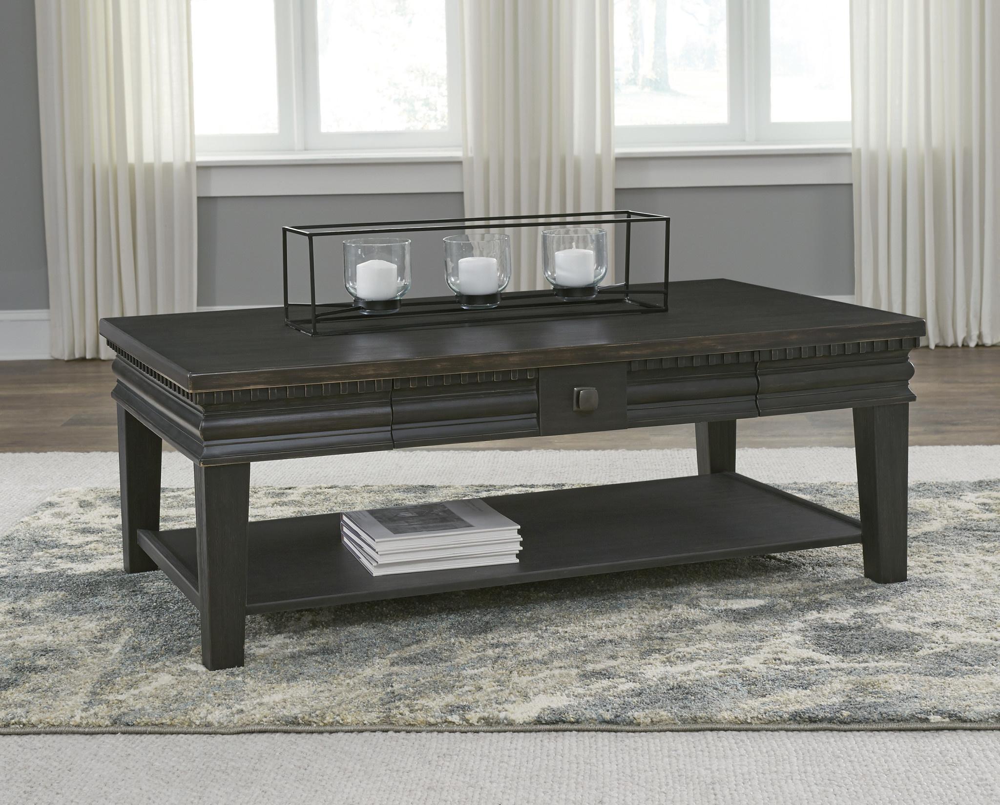"""Signature Design """"Miniore"""" Rectangular Cocktail Table- Black- 2 Drawers T960-1"""