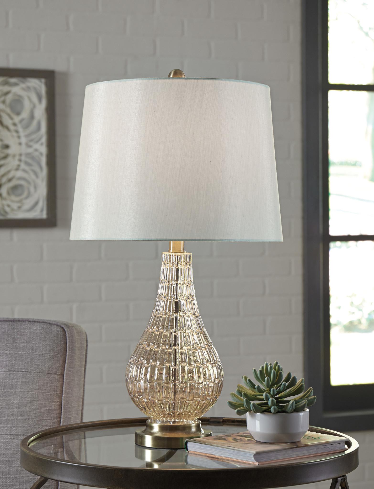 """Signature Design """"Latoya"""" Glass Table Lamp- Champagne- L430594"""