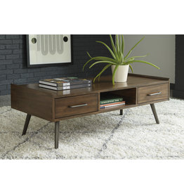 "Signature Design ""Calmoni"" Rectangular Cocktail Table- Brown T916-1"