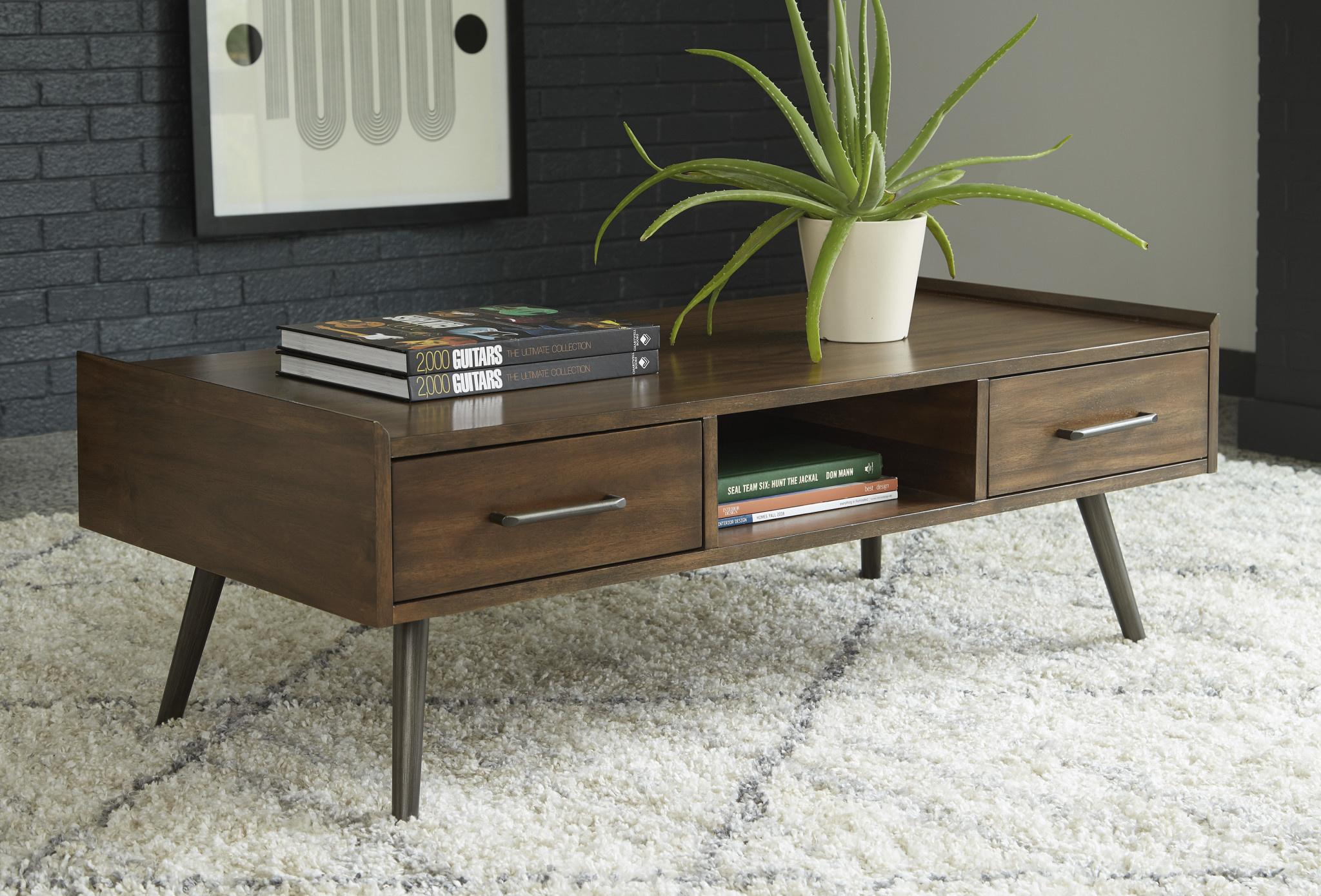 "Signature Design ""Calmoni"" Rectangular Cocktail Table- Brown T916-1"