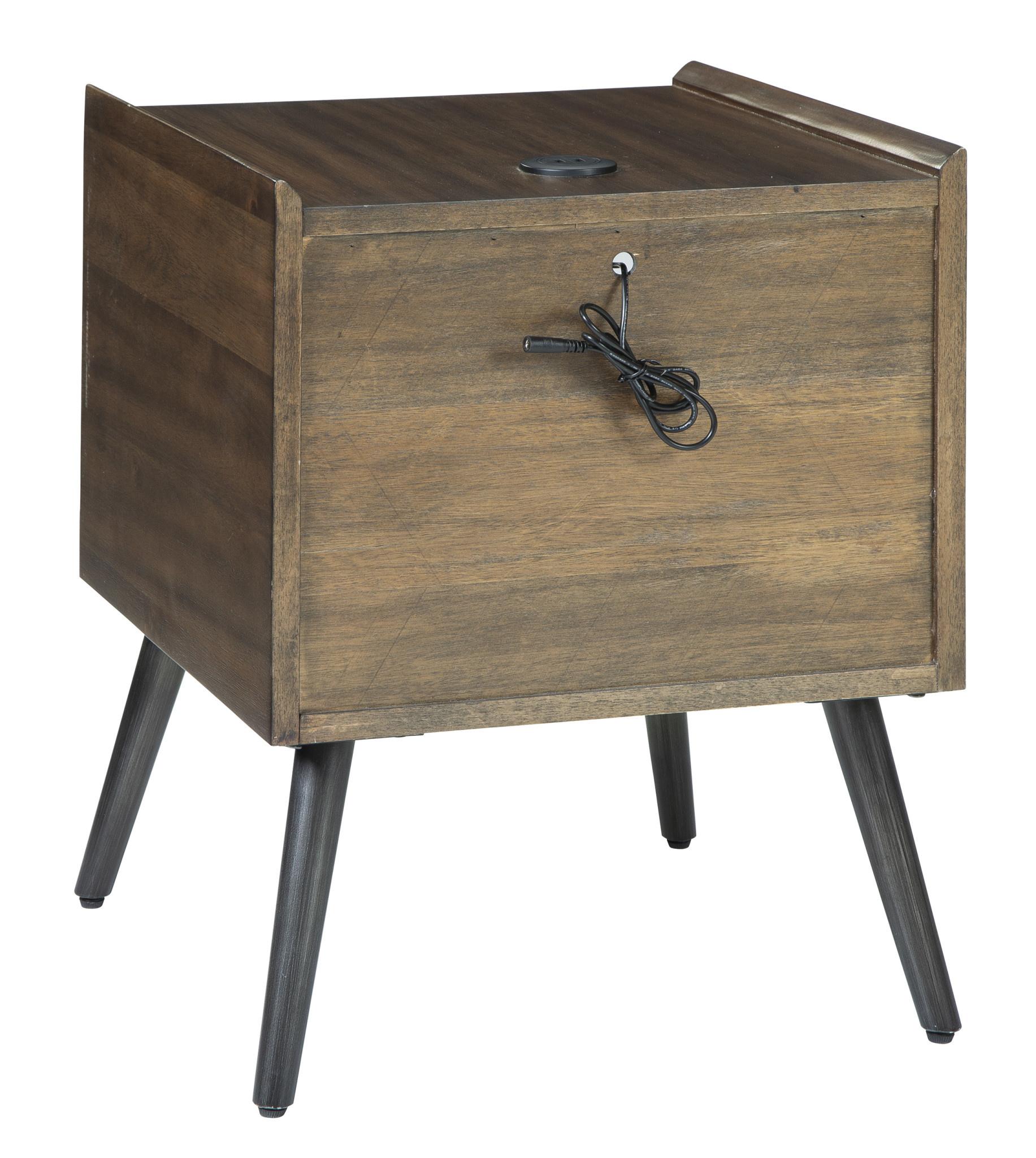 """Signature Design """"Calmoni"""" Square End Table- Brown- T916-2"""