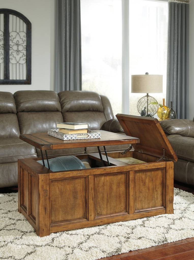 Signature Design Tamonie Rect Lift Top Cocktail Table - Medium Brown T830-9