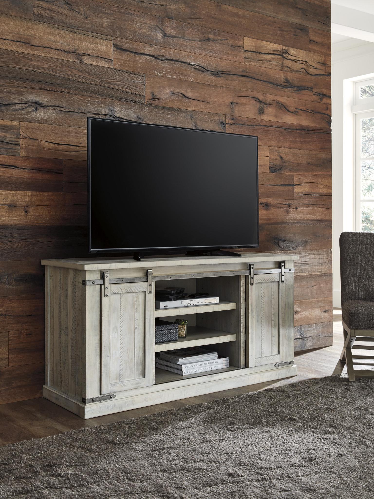"""Carynhurst"" Large TV Stand- Whitewash- W755-48"