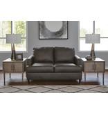 """Signature Design """"Hettinger"""" Leather Loveseat- Ash- 4950135"""