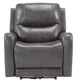 "Signature Design ""Galahad"" Power Recliner- Heat, Adj. Headrest, Heat,  Smoke color 6610306"