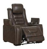 "Signature Design ""Game Zone"" Power Recliner w/Adj. Headrest- Bark Color- 3850113"