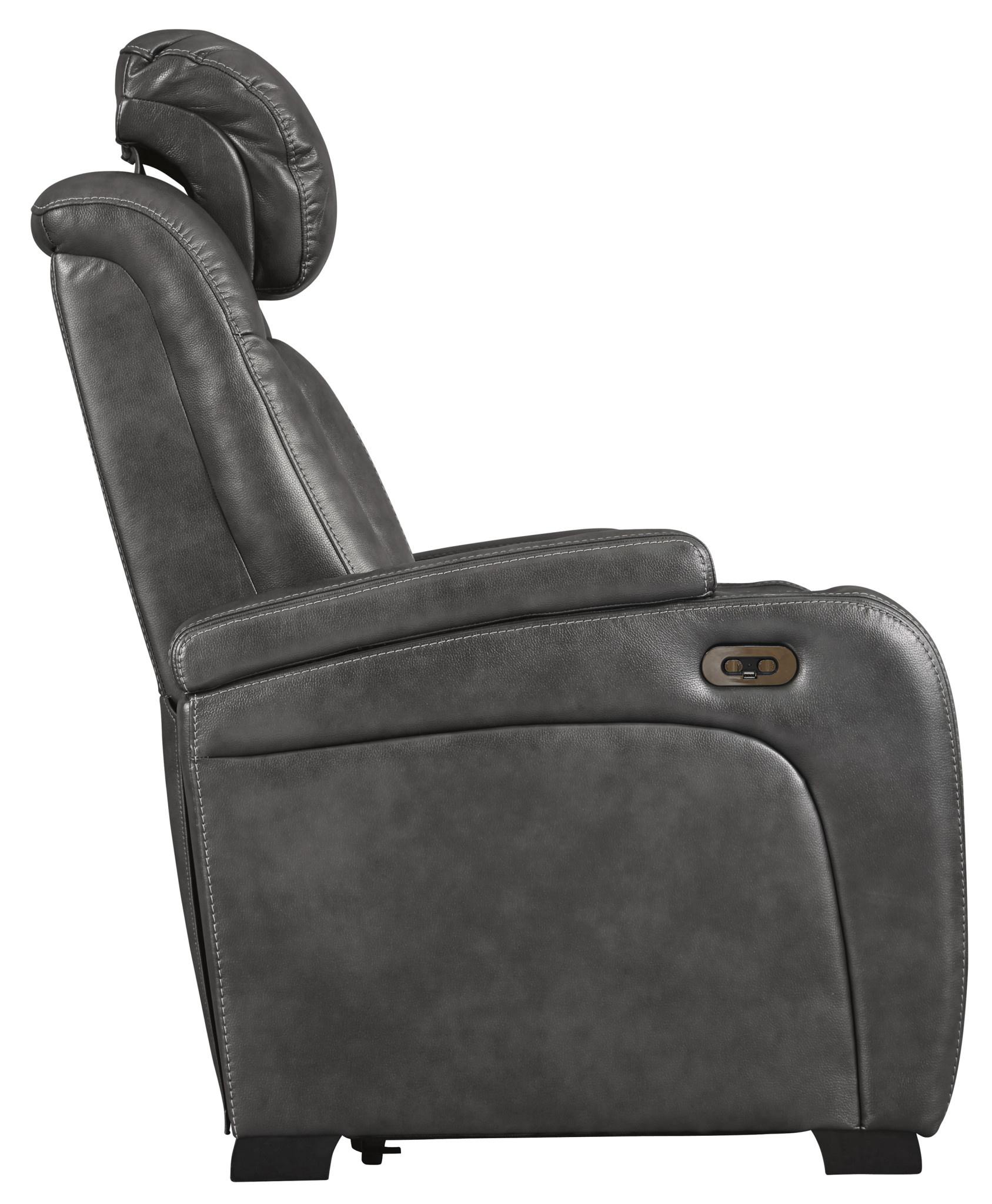 "Signature Design ""Turbulance""- Power Recliner w/Adjustable Headrest- Quarry Color- 8500113"
