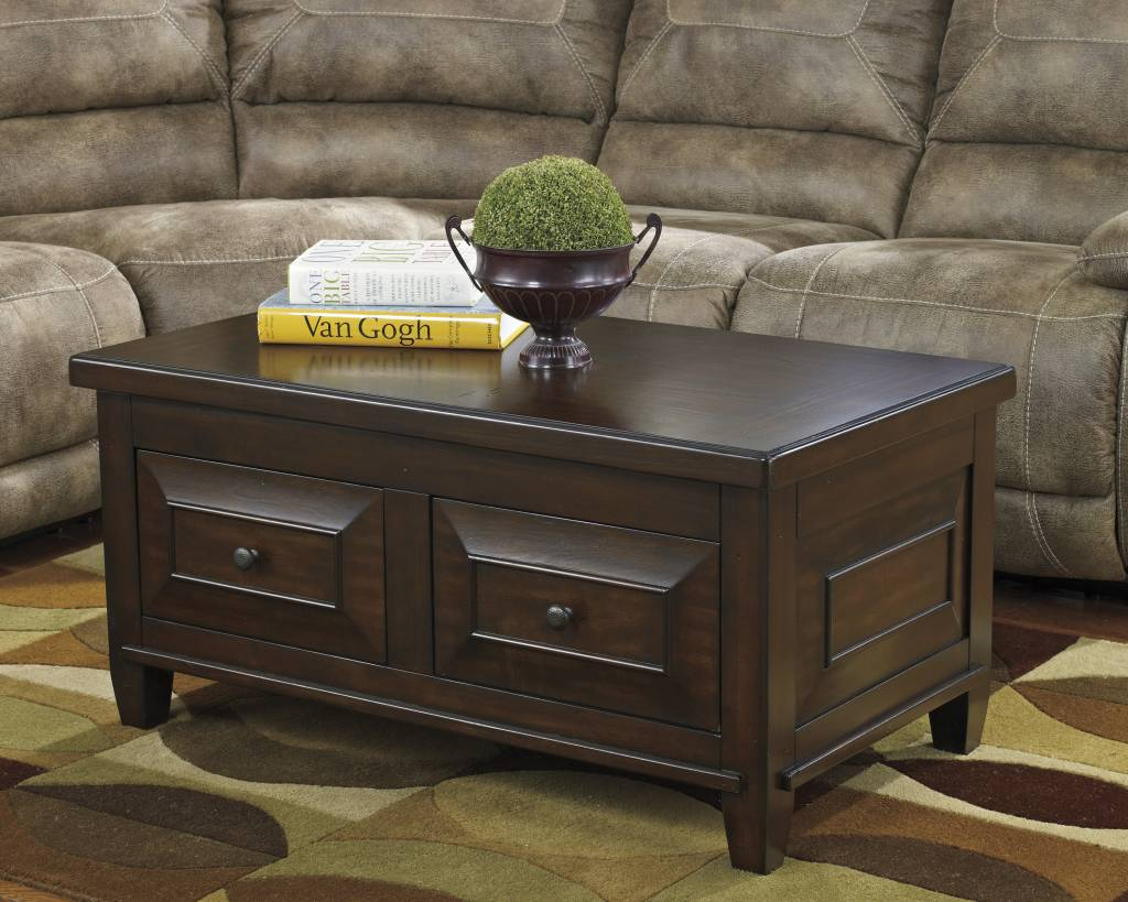 Signature Design Hindell Park Lift Top Cocktail Table - Rustic Brown T695-9