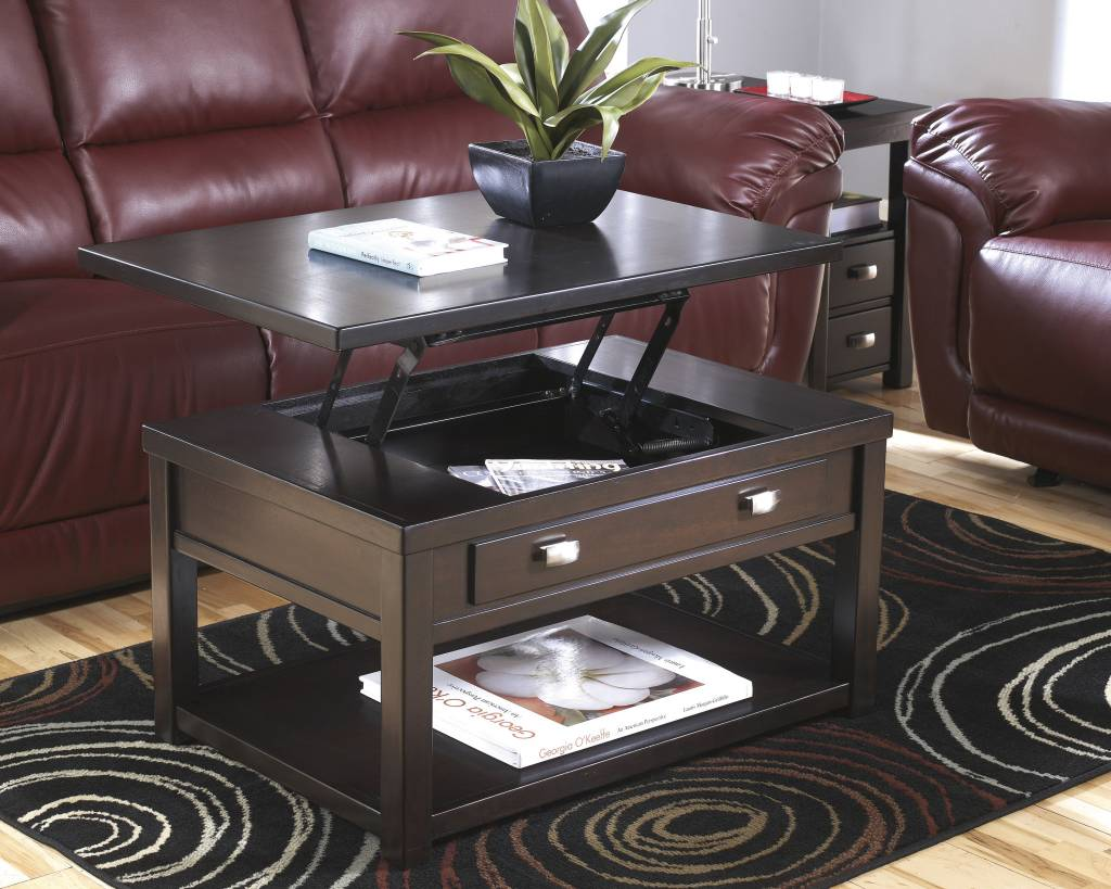 Signature Design Hatsuko Lift Top Cocktail Table - Dark Brown T864-9