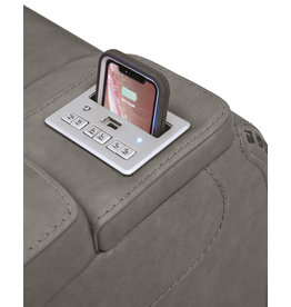 "Signature Design ""The Man Den"" Leather Power Recliner w/Adjustable Headrest- Gray U8530513"