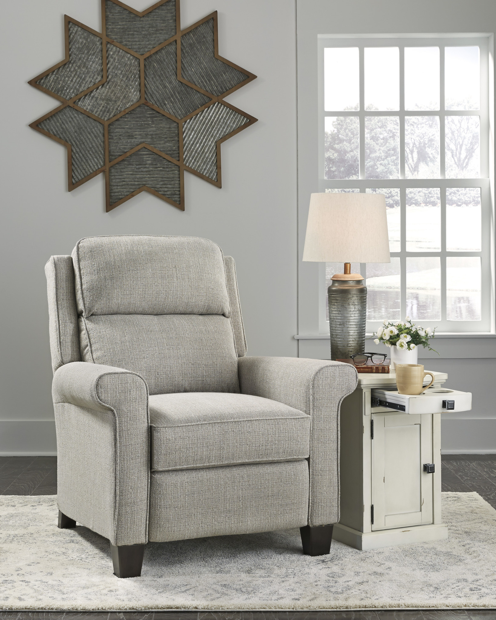 "Signature Design ""Evanside"" Low Leg Power Recliner- Gravel Color- 4680403"
