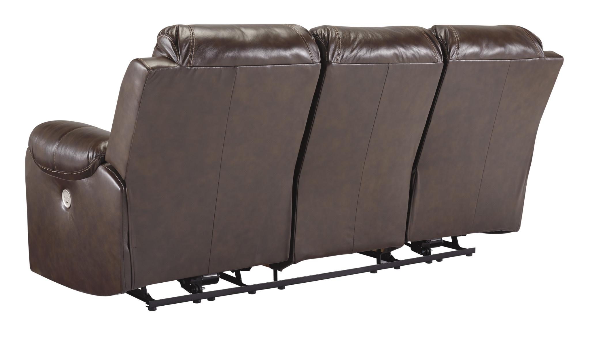 "Signature Design ""Rackinburg"" Leather Power Reclining Sofa- Mahogany Color- U3330187"