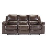 "Signature Design ""Rackingburg"" Leather Power Reclining Sofa- Mahogany Color- U3330187"