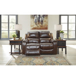 "Signature Design ""Rackingburg""- Leather Power Reclining Loveseat- Mahogany Color U3330174"