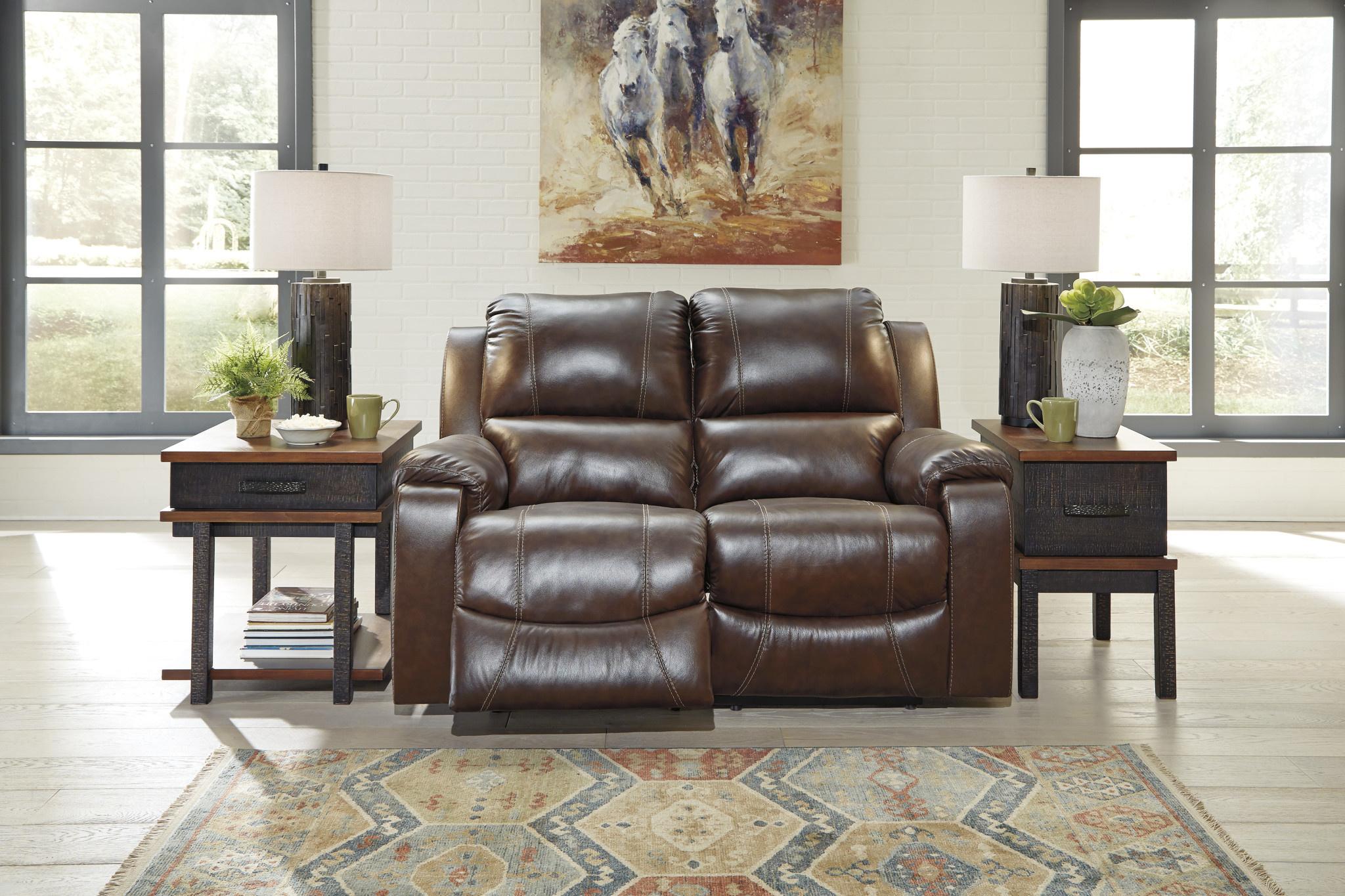 "Signature Design ""Rackingburg""- Leather Power Reclining Loveseat- Mahogany Color U3330174"