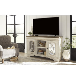 """Signature Design """"Realyn"""" Large TV Stand- Chipped White- W743-48"""