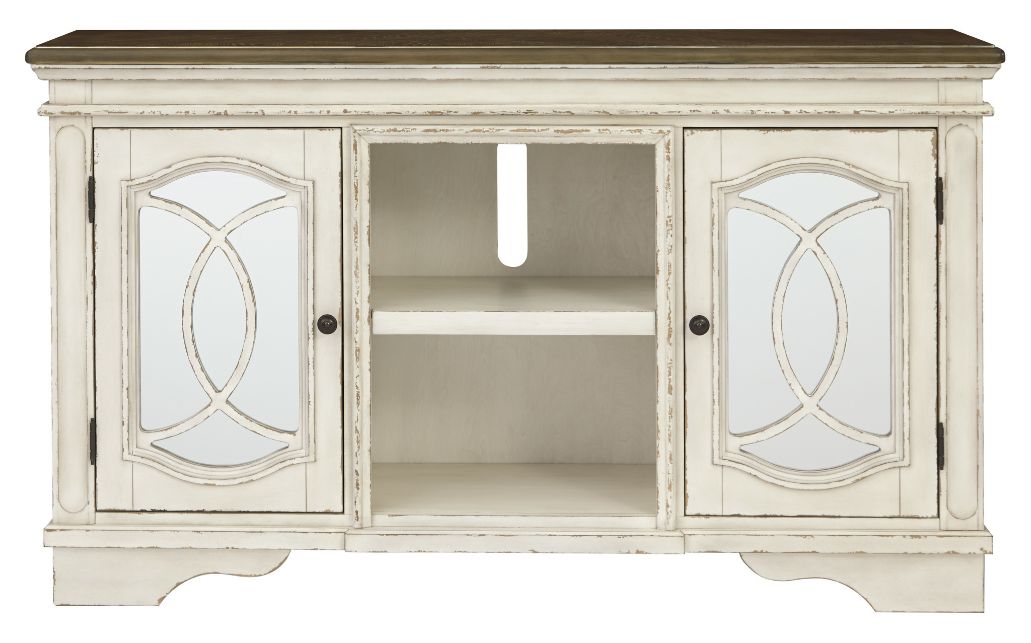 "Signature Design ""Realyn"" Large TV Stand- Chipped White- W743-48"