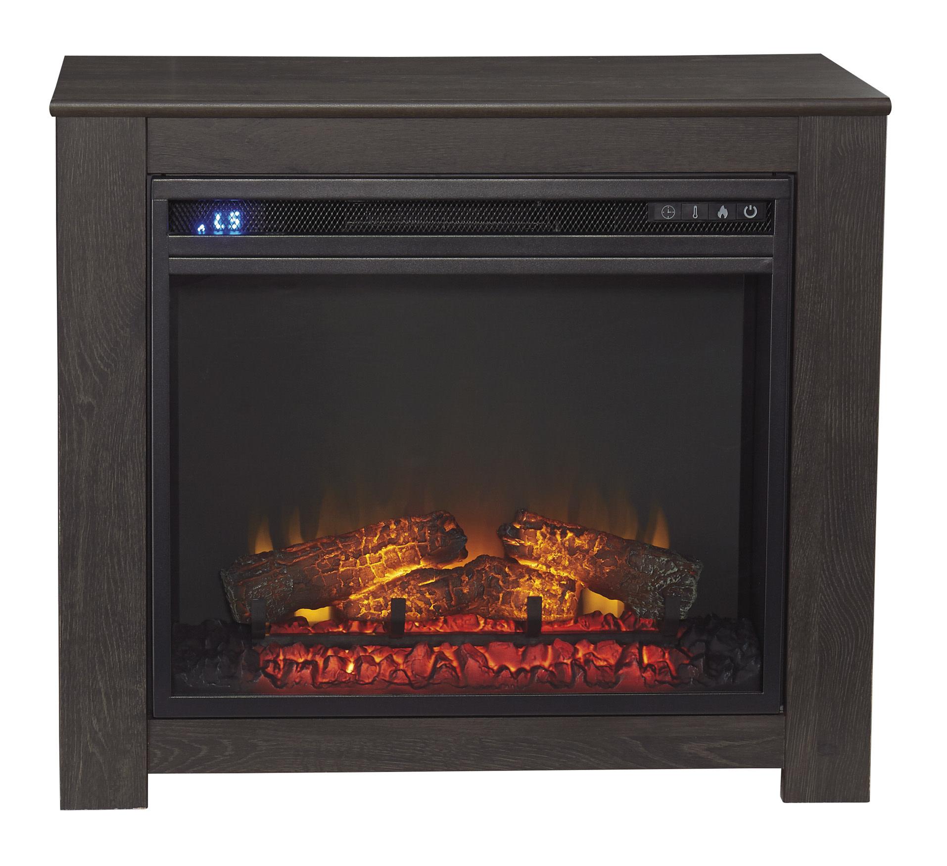 Signature Design Harlinton Fireplace Mantel w/ Fireplace Insert- Black- W325-368