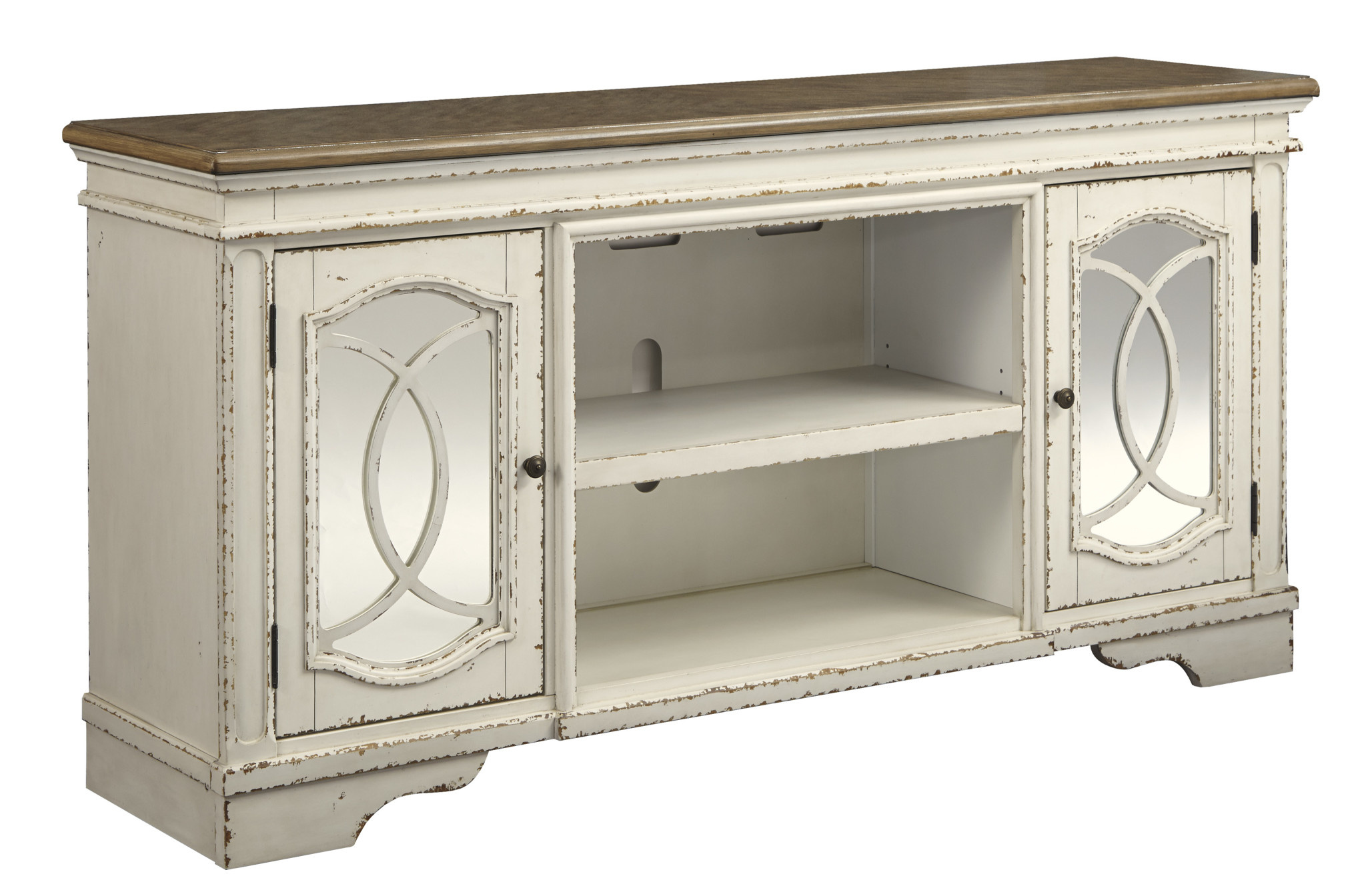"""Signature Design """"Realyn"""" Extra Large TV Stand w/ Fireplace Option- Chipped White- W743-68"""