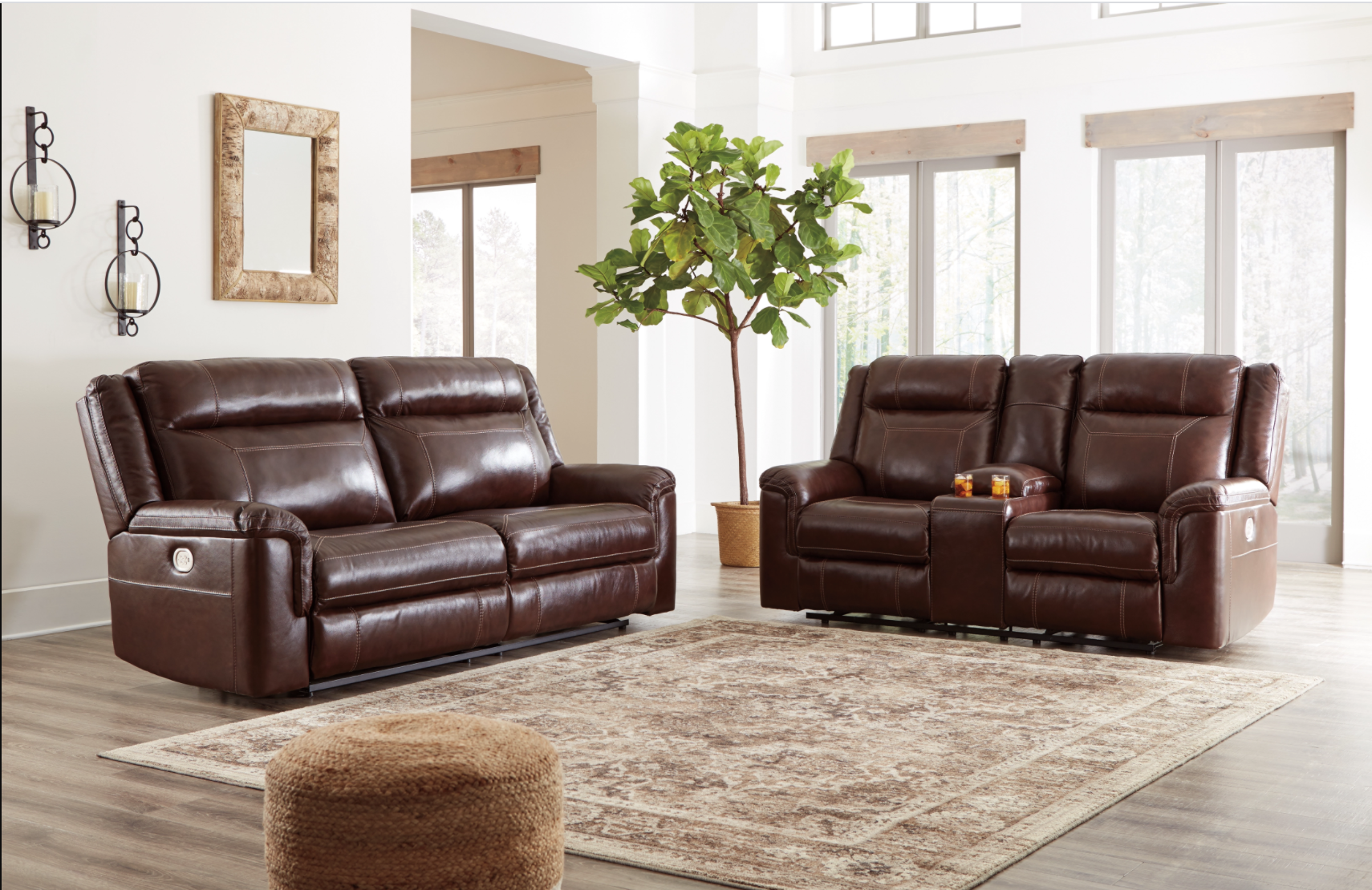 "Signature Design ""Wyline""- Leather Power Reclining Sofa w/ Adjustable Headrest- Coffee  7170115"