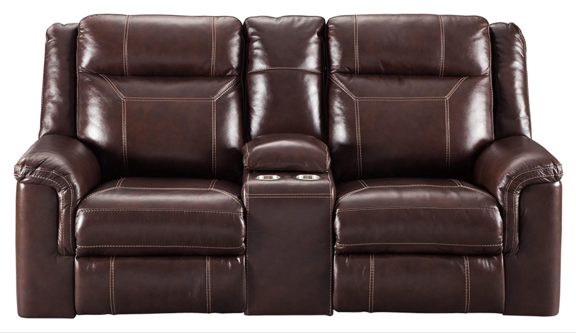 "Signature Design ""Wyline""- Leather Power Reclining Loveseat w/ Console, Adjustable Headrest,  7170118"