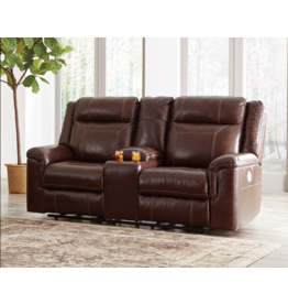 "Signature Design ""Wyline""- Leather Power Reclining Loveseat w/ Console, Adjustable Headrest,  7170118"