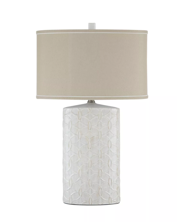 "Signature Design ""Shelvia"" Ceramic Table Lamp- Antique White- L100374"