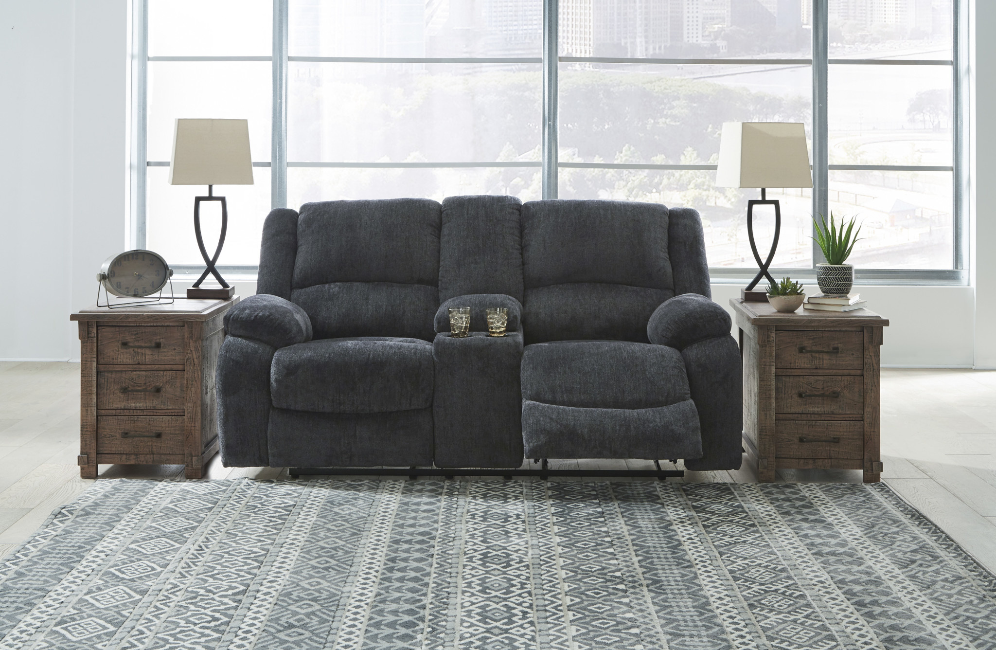 "Signature Design ""Draycoll"" Double Reclining  Loveseat- Slate Color- 7650494"