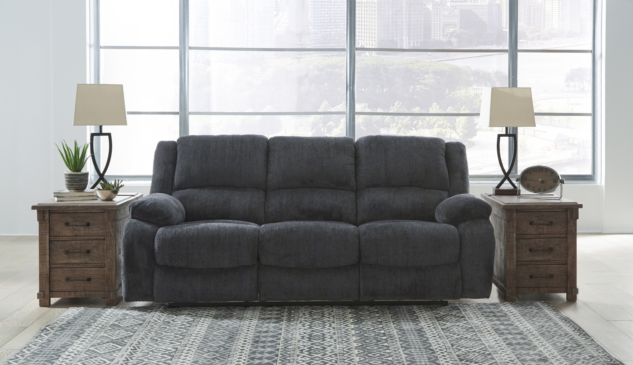 "Signature Design ""Draycoll""- Reclining Sofa- Slate Color- 7650488"
