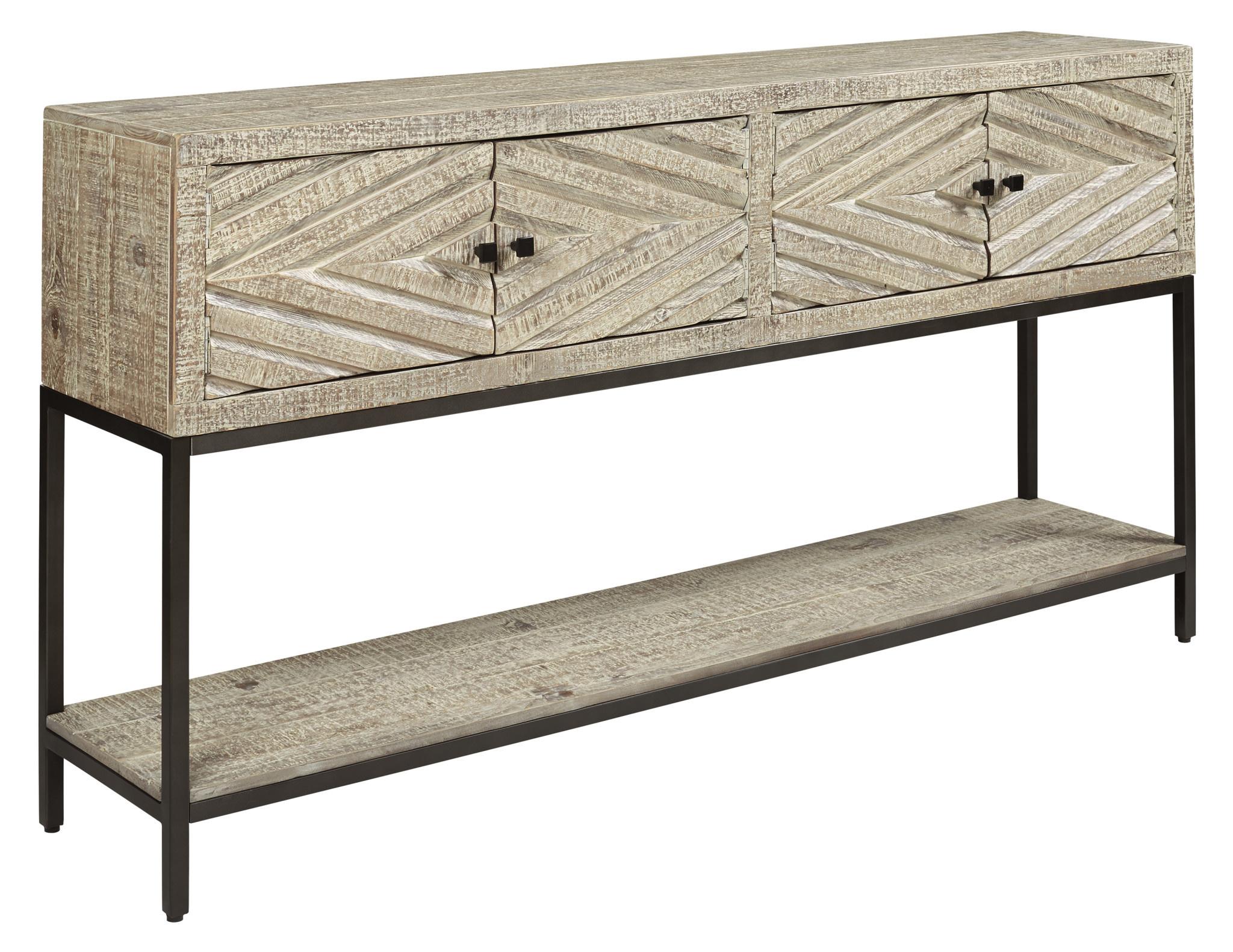 "Signature Design ""Roanley"" Console Sofa Table- Distressed White- A4000262"