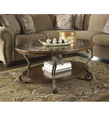 "Signature Design ""Nestor""- OVAL COCKTAIL TABLE- Medium Brown- T517-0"
