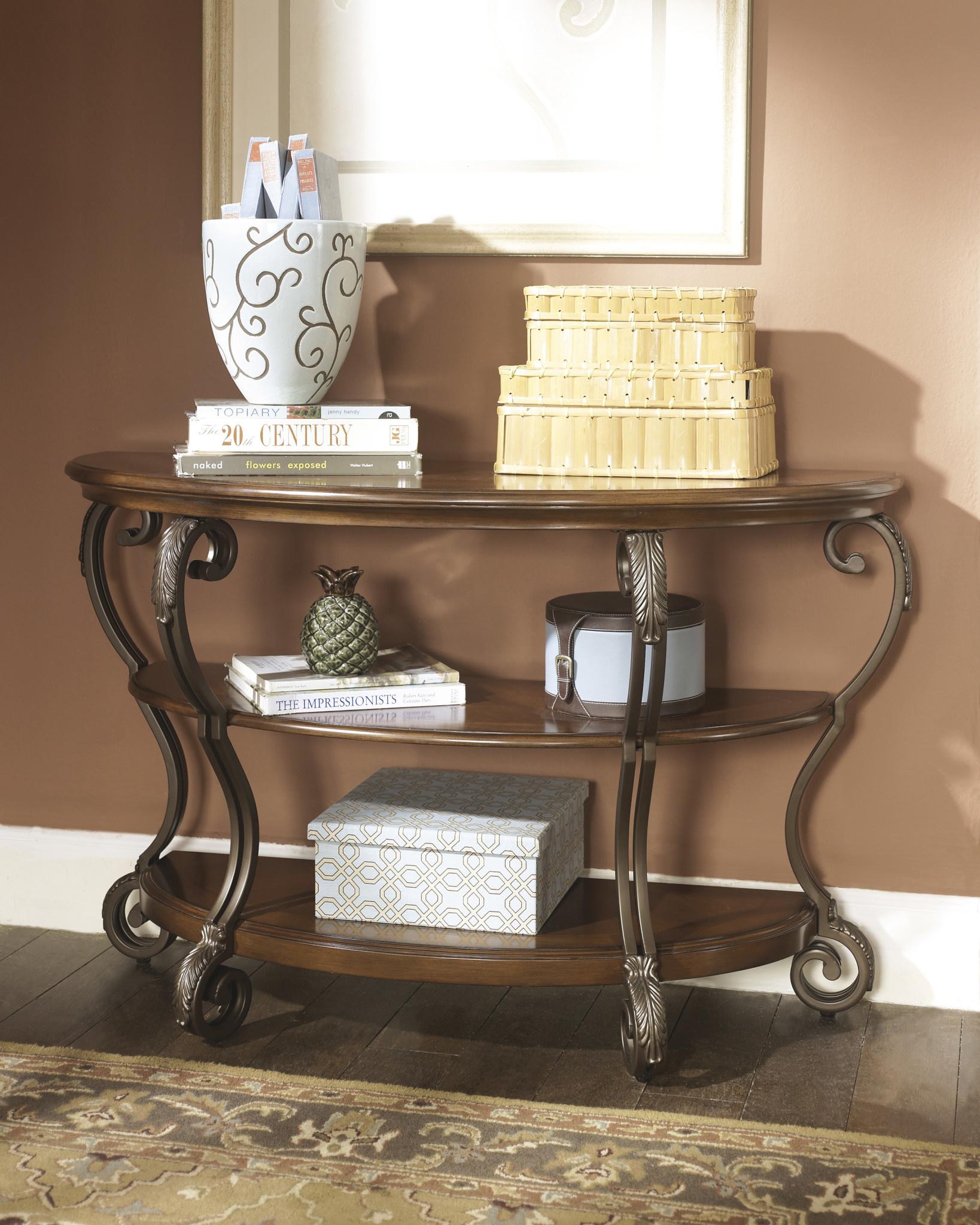 """Signature Design """"Nestor""""- SOFA TABLE- Medium Brown- T517-4"""