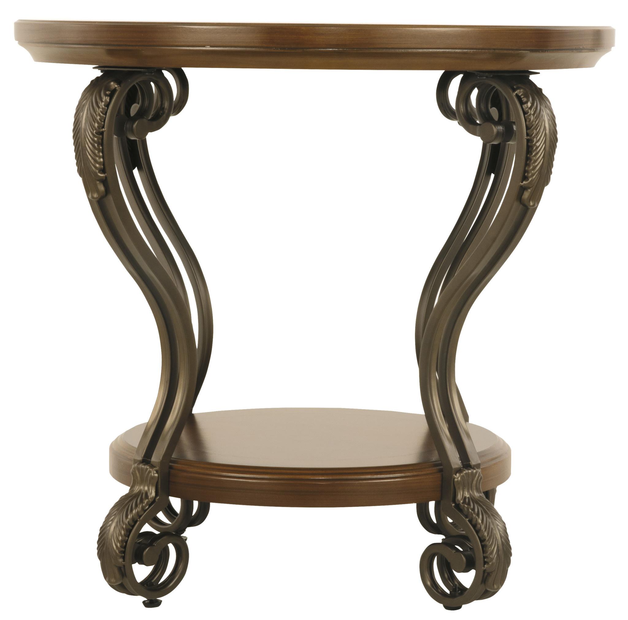 """Signature Design """"Nestor""""- ROUND END TABLE- Medium Brown T517-6"""