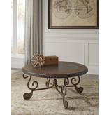 """Signature Design """"Rafferty"""" Round Cocktail Table- Dark Brown- T382-8"""
