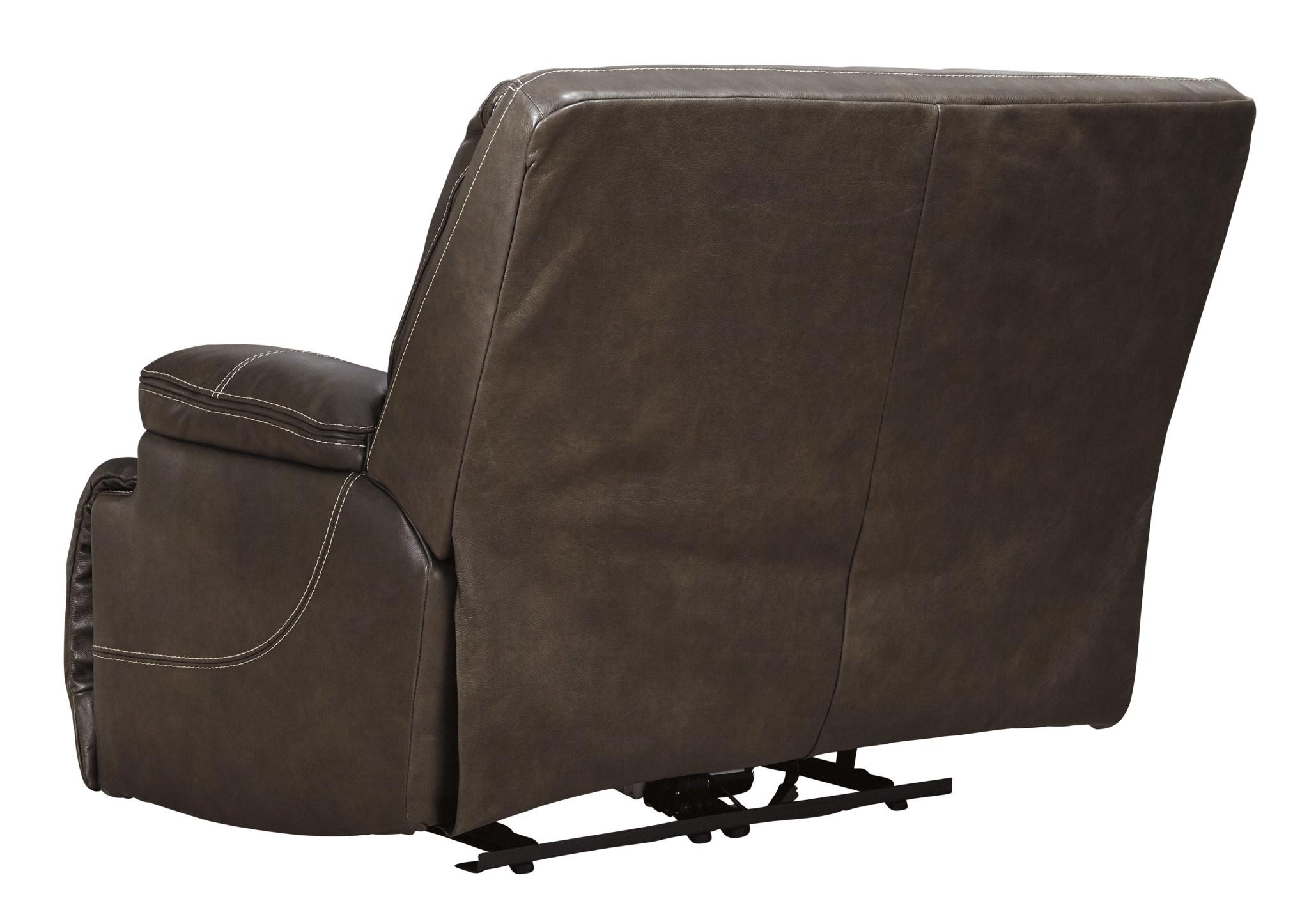 """Signature Design """"Ricmen"""" Leather Wide Seat Power Recliner, """"Walnut"""" Color U4370182"""