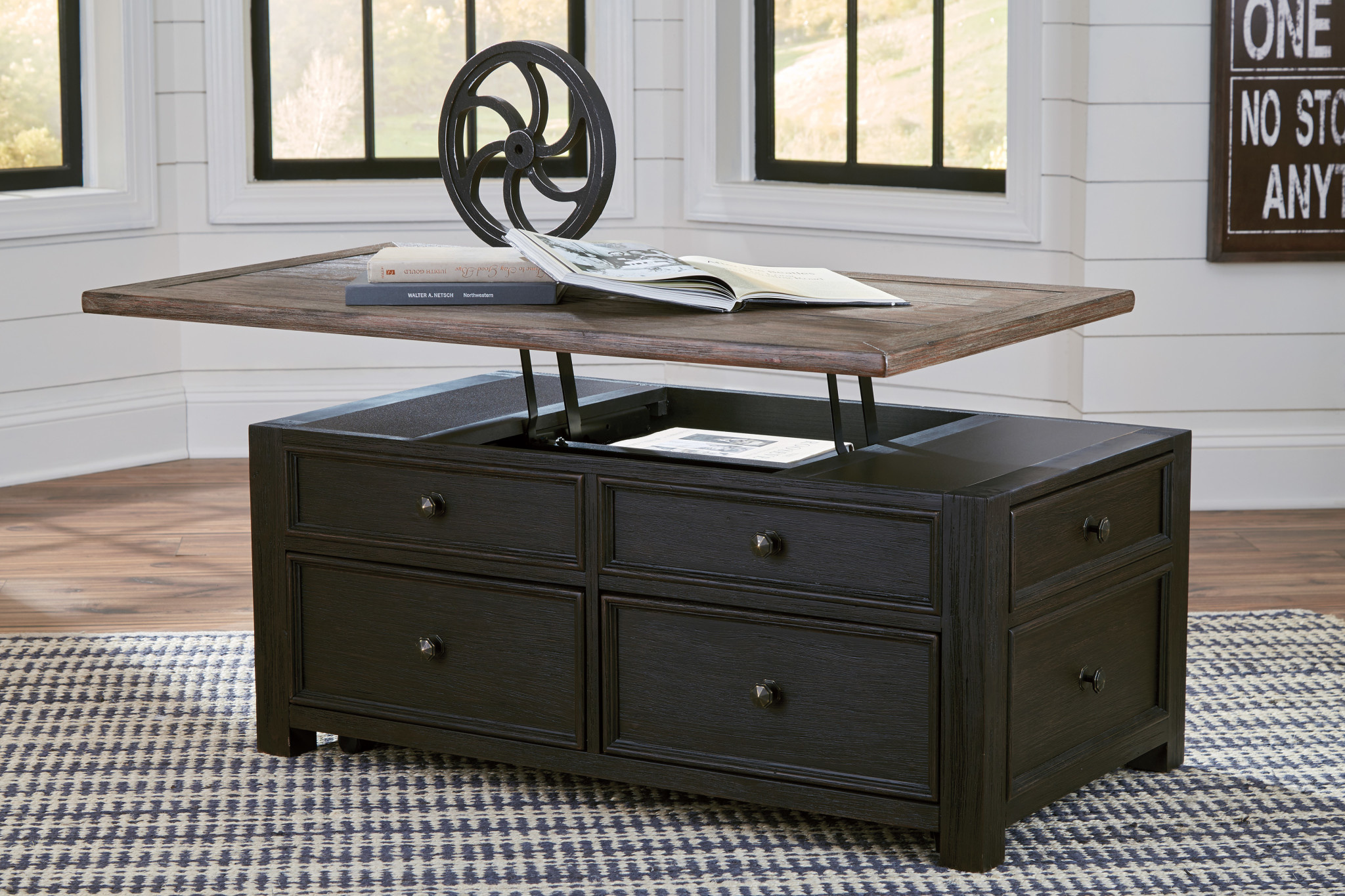 "Signature Design ""Tyler Creek"" Lift Top Cocktail Table- ""Grayish Brown Black"" Color- T736-20"