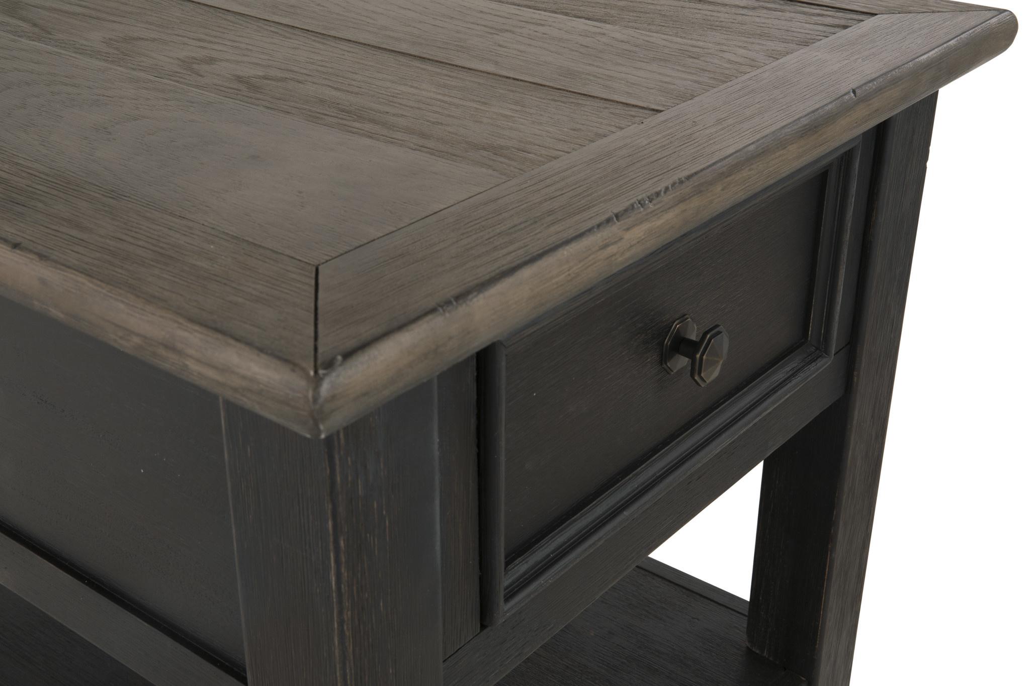 "Signature Design ""Tyler Creek"" Rectangular End Table, ""Grayish Brown Black"" Color- T736-3"