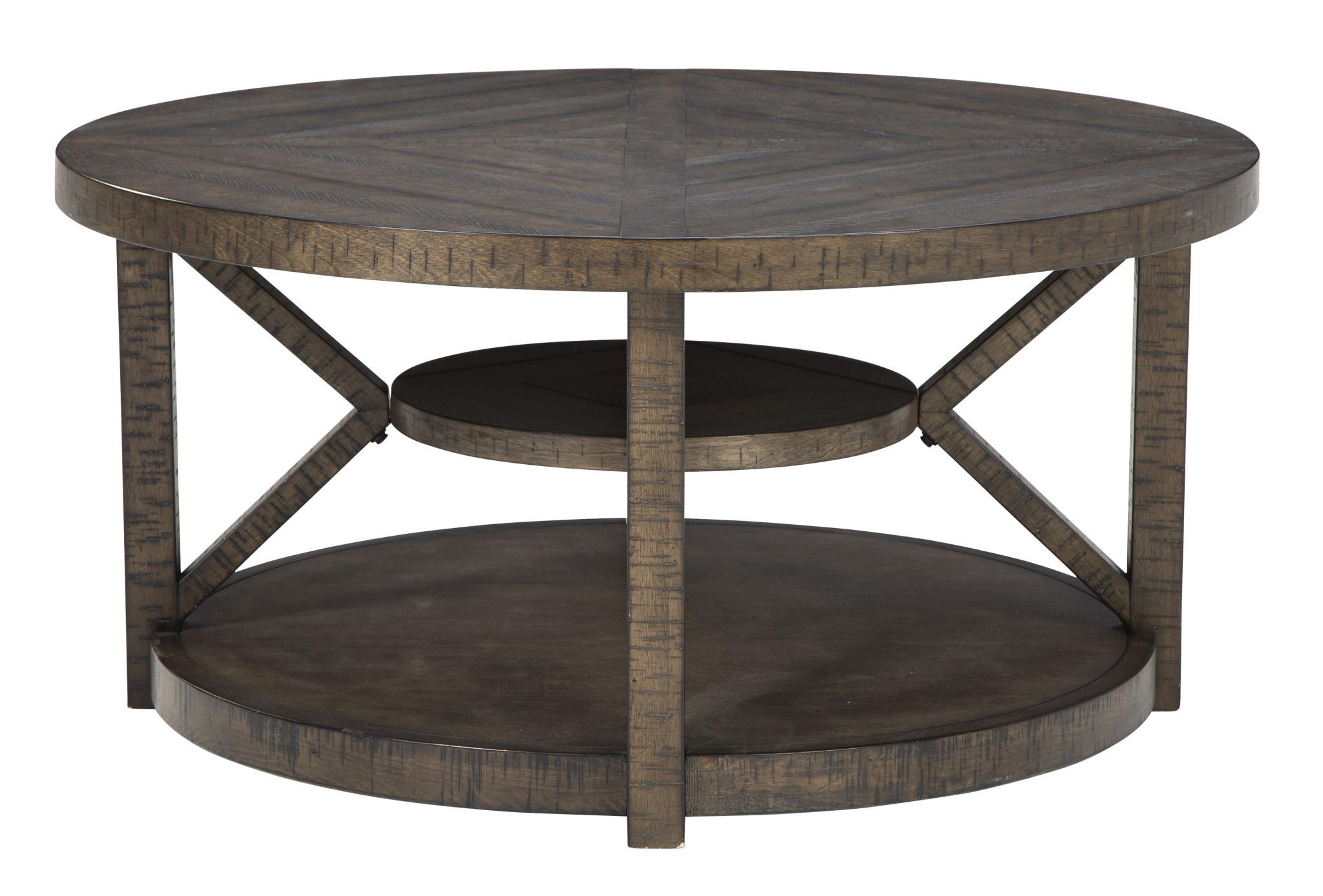 "Signature Design ""Jessoli"" Round Cocktail Table- Brown- T234-8"