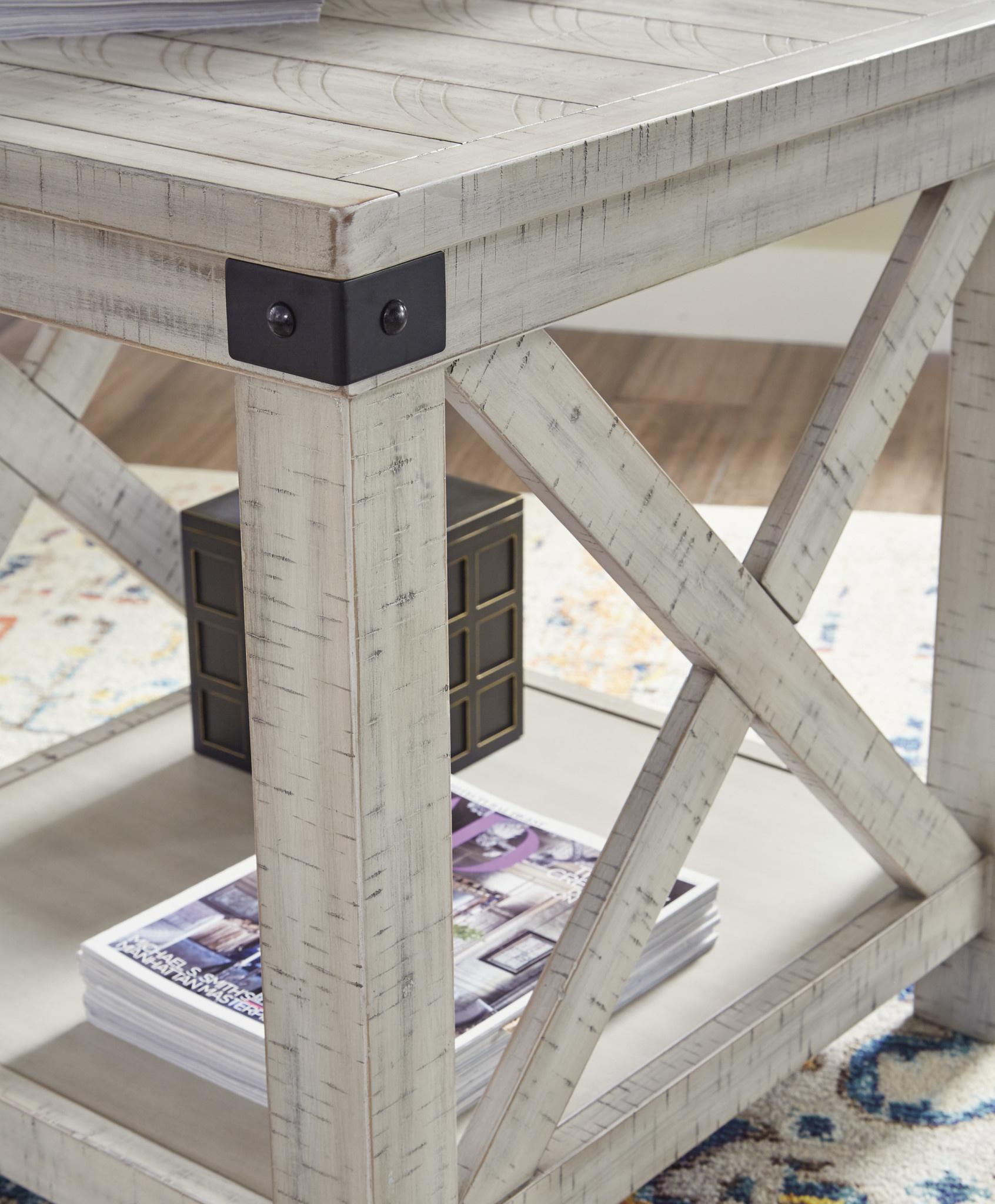 "Signature Design ""Carynhurst"" Rectangular End Table- ""Whitewash Color"" T929-3"