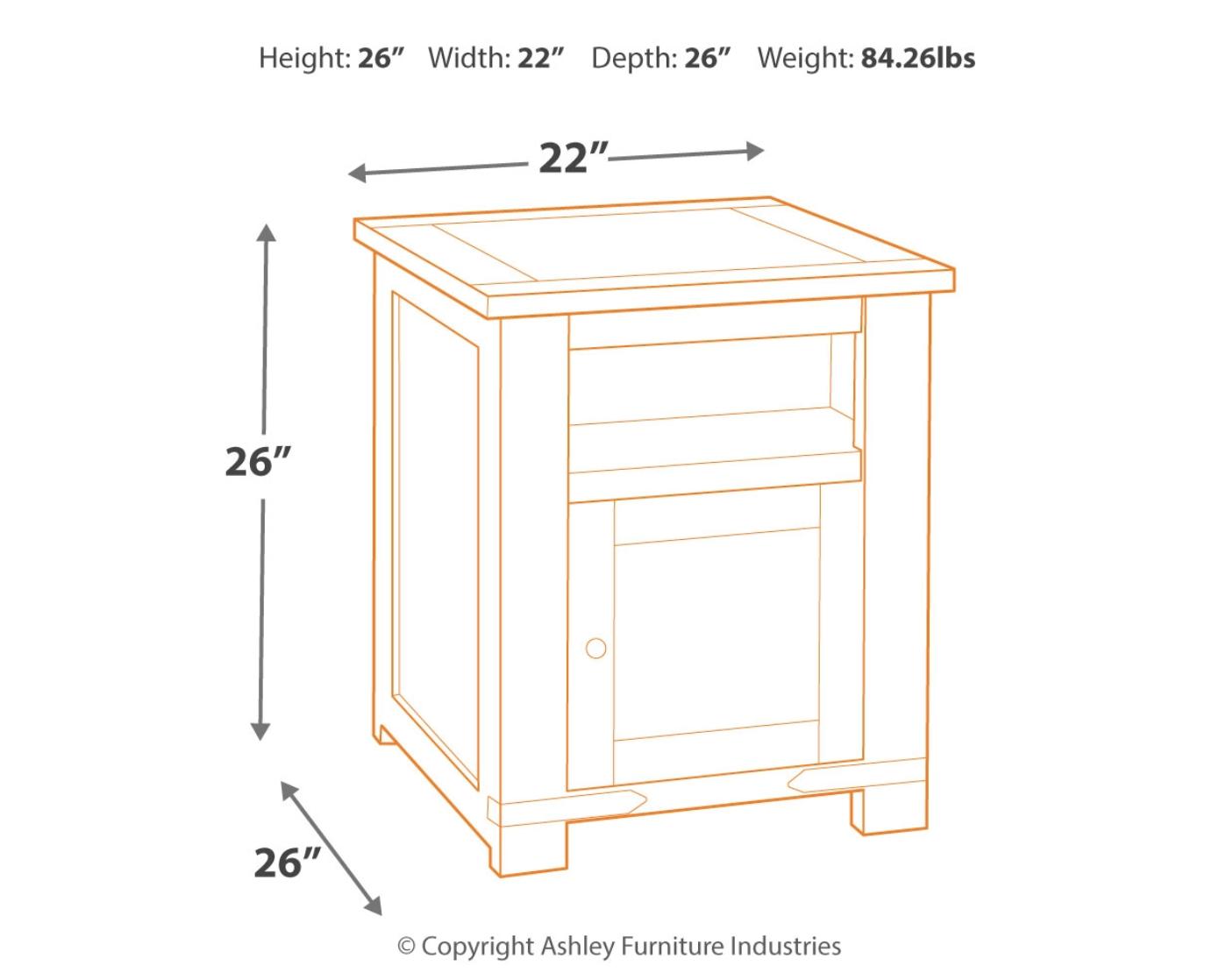 "Signature Design ""Budmore"" Rectangular End Table- Brown- T372-3"