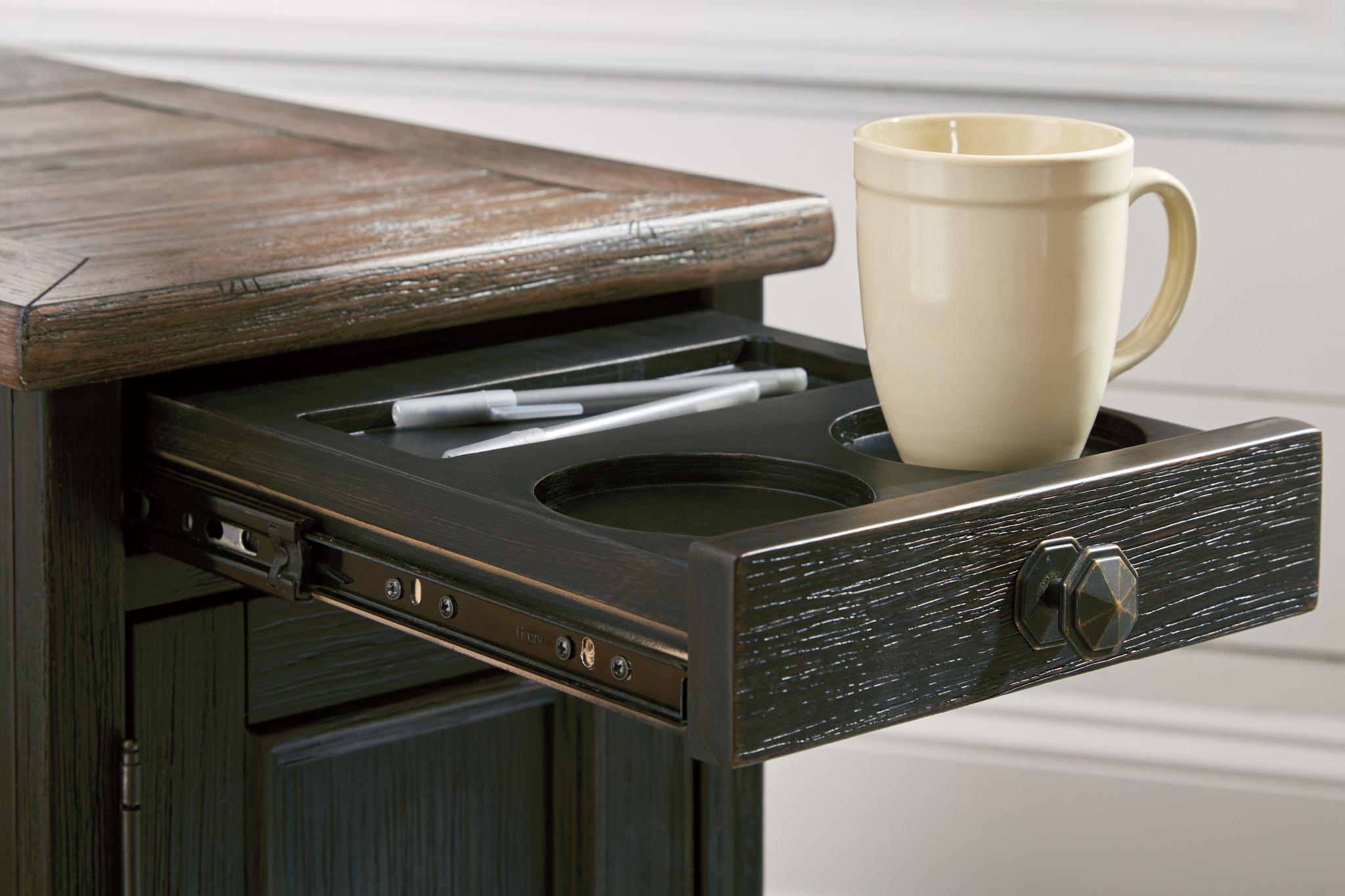 "Signature Design ""Tyler Creek"" Chair Side End Table- Grayish Brown/Black- T736-7"