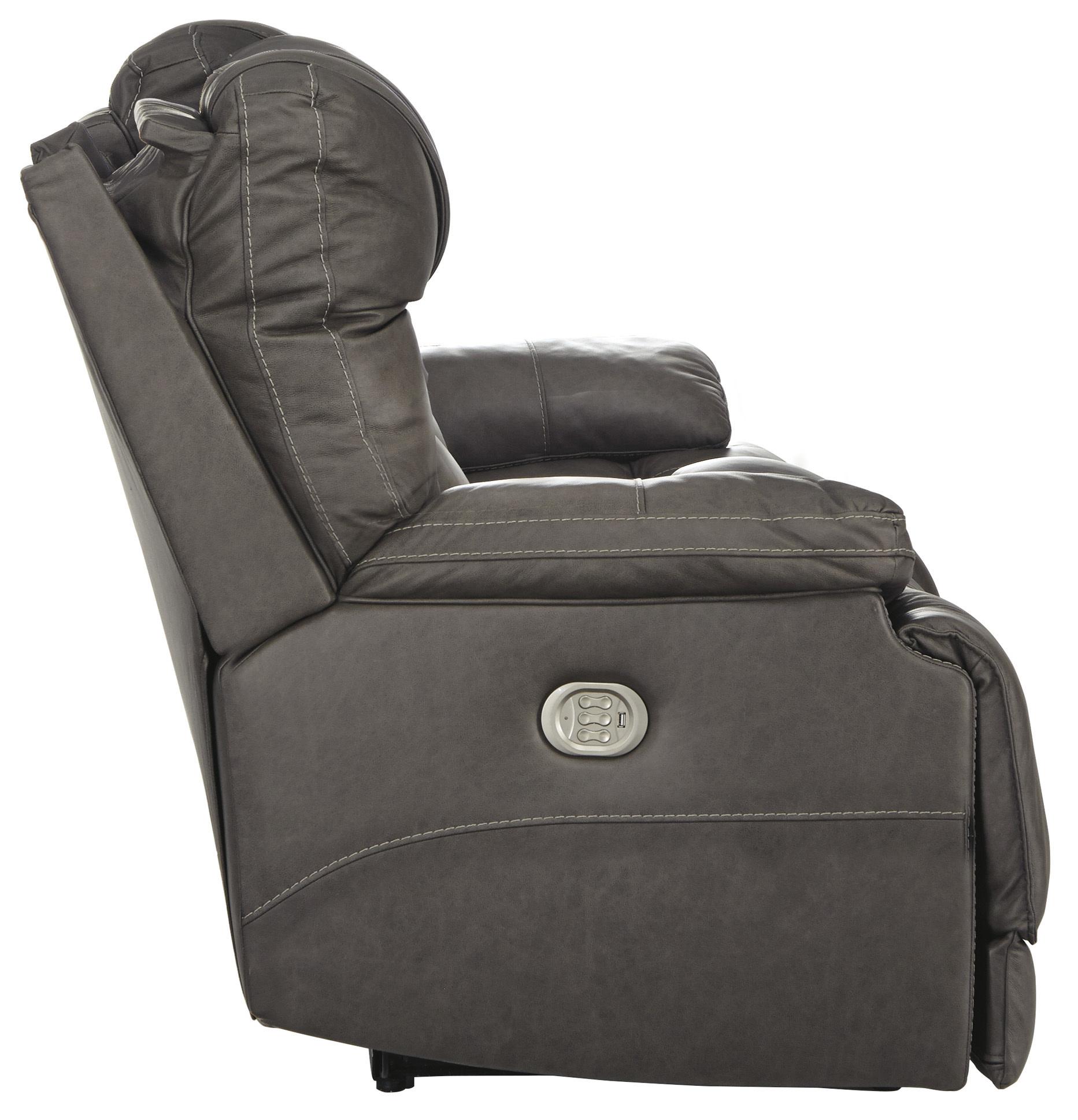 "Signature Design ""Wurstrow"" Power Reclining Sofa w/Adj. Headrest and Lumbar- ""Smoke"" Color- U5460215"