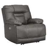 "Signature Design ""Wurstrow"" Power Recliner w/ Adj. Headrest, Lumbar ""Smoke"" Color U5460213"