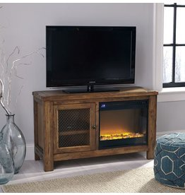 Signature Design Tamonie TV Stand with Fireplace Option - Rustic Brown W830-18