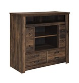 Signature Design Quinden Media Chest w/Fireplace Option - Dark Brown