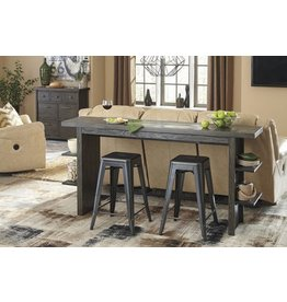 Signature Design Lamoille Long Counter Table - Dark Gray D639-33