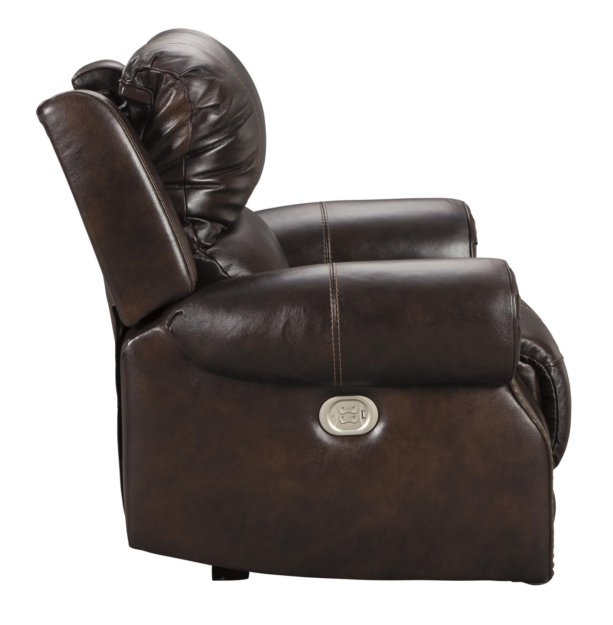"Signature Design ""Buncrana"" Leather Power Recliner w/Adjustable Headrest- Chocolate- U8460413"