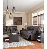 "Signature Design ""McCaskill"" Power Reclining Leather Sofa- Gray- U6090047"