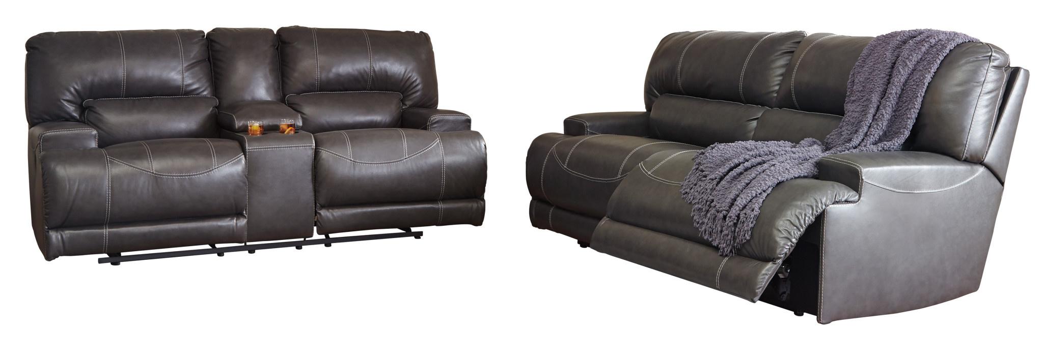 "Signature Design ""McCaskill"" Leather DBL Reclining Loveseat w/ Console- Gray- U6090094"