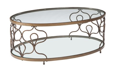 Signature Design Fraloni Oval Cocktail Table- Bronze Finish T086-0